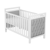 Deluxe Velvet Cot Bed (White/Grey)