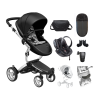 Xari 4G Complete Travel System - Black on Aluminium