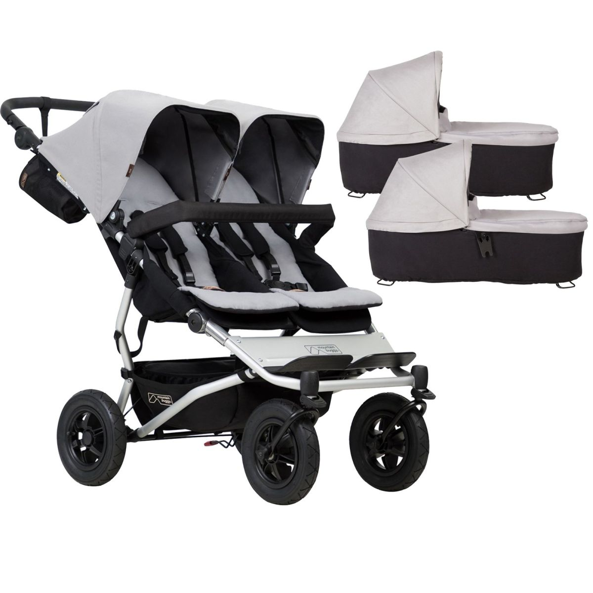 Mountain Buggy Duet V3 Twin Pushchair & 2 Carrycots (Silver)