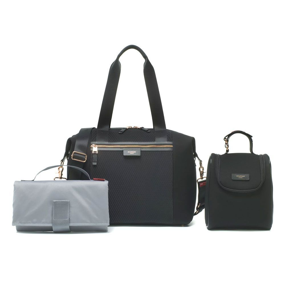 BABY CHANGING BAG STEVIE LUXE SCUBA (BLACK)