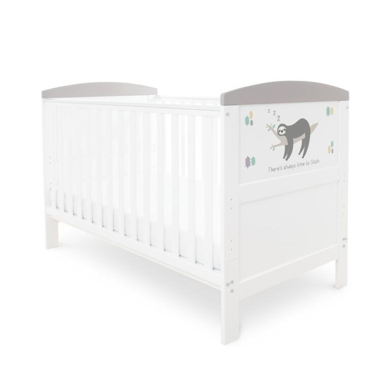 Coleby Style Cot Bed & Sprung Mattress (Sloth Grey)