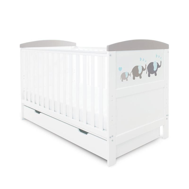 Coleby Style Cot Bed & Under Drawer Inc Foam Mattress (Elephant Love Grey)