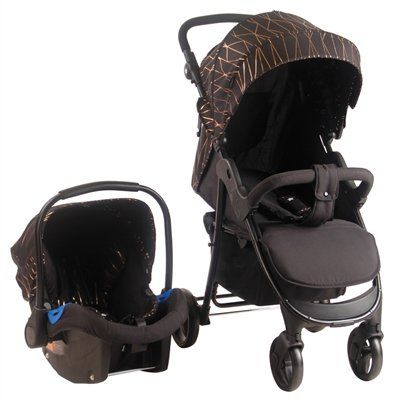 MB30 Rose Gold Black Pushchair and Car Seat