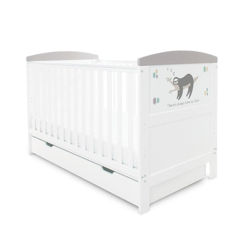 Coleby Style Cot Bed & Under Drawer Inc Foam Mattress (Sloth Grey)