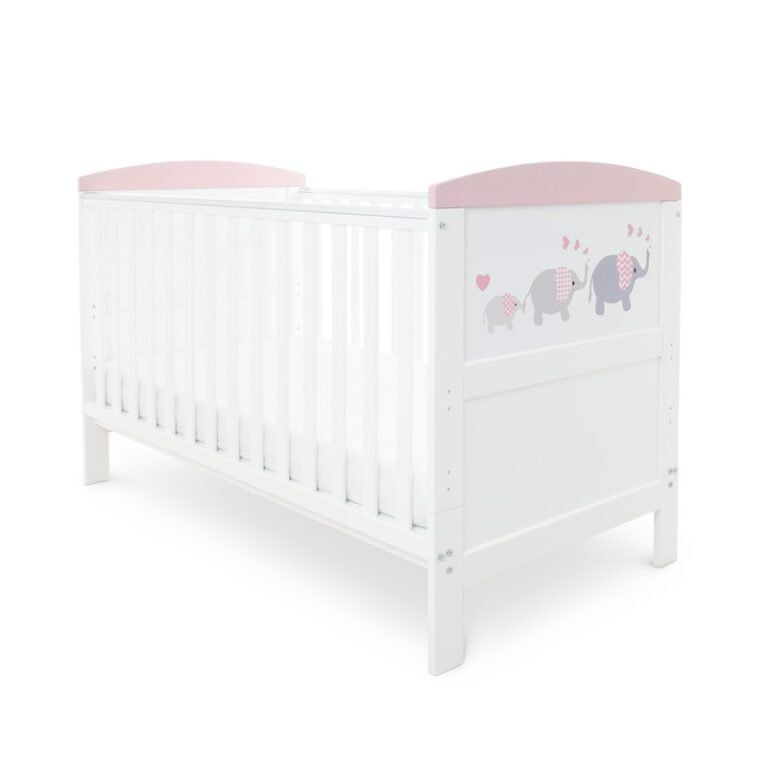 Coleby Style Cot Bed & Sprung Mattress (Elephant Love Pink)