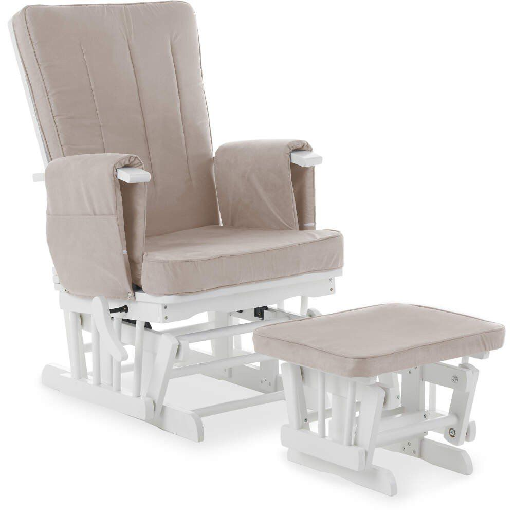 Deluxe Reclining Glider Chair and Stool - White with Sand Cushions