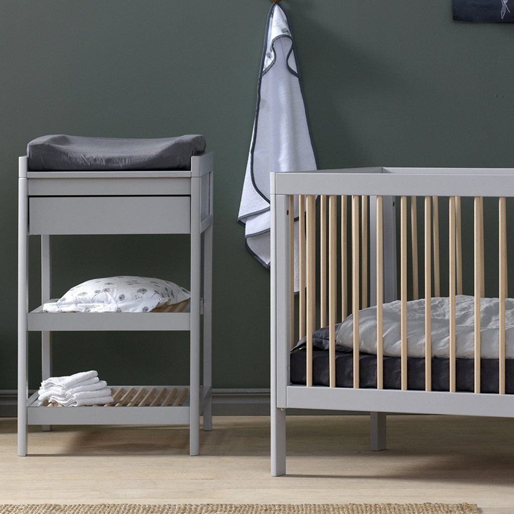 Lukas 2 Piece Set - Cot And Changing Table With Drawer - Grey/Natural