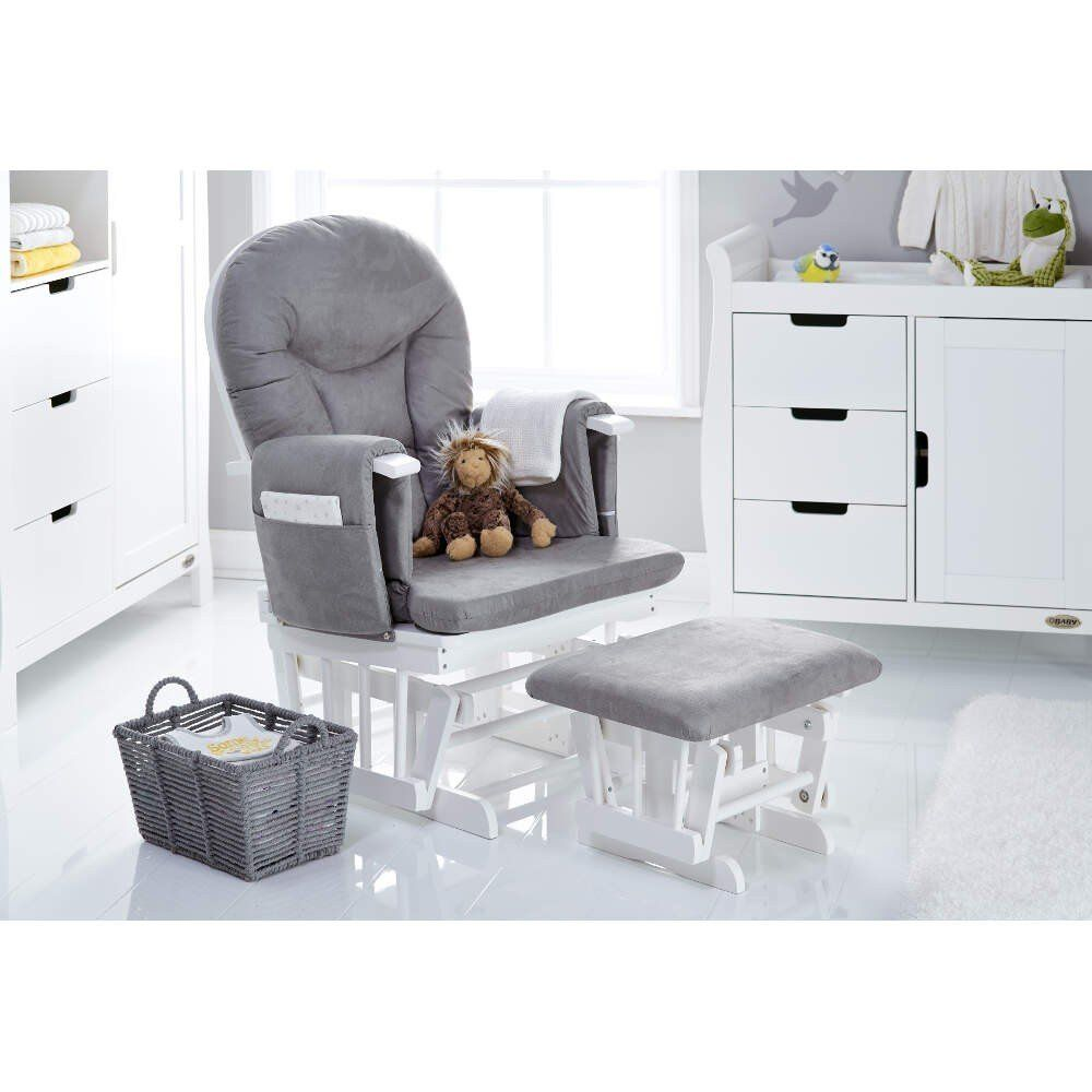 Reclining Glider Chair & Stool - White with Grey Cushions