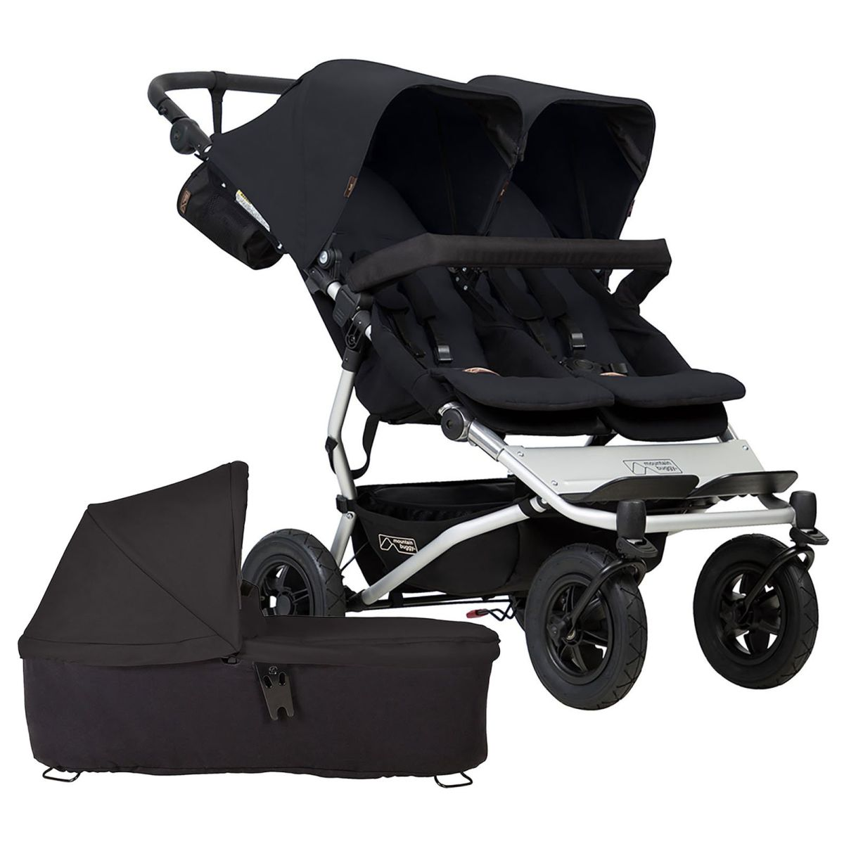 Mountain Buggy Duet V3 Twin Pushchair & Carrycot (Black)
