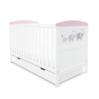 Coleby Style Cot Bed & Under Drawer Inc Pocket Sprung Mattress (Elephant Love Pink)