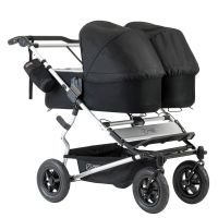 Mountain Buggy Duet V3 Double Travel System & 2 Carrycots (Silver)