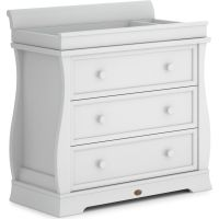 Sleigh 3 Drawer Dresser with Sleigh Changing Station (Barley White)