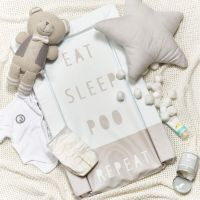 Obaby Changing Mat - Eat, Sleep, Repeat Grey