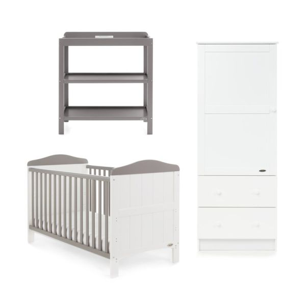 Whitby 3 Piece Room Set - White with Taupe Grey