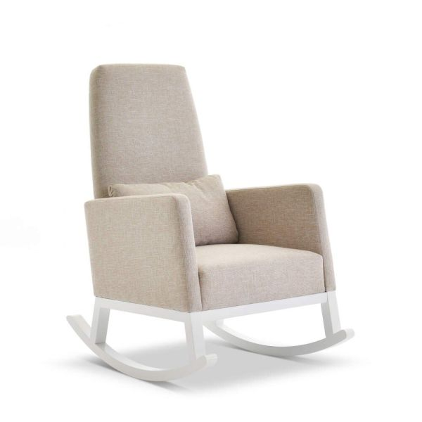High Back Rocking Chair - White with Oatmeal Cushions