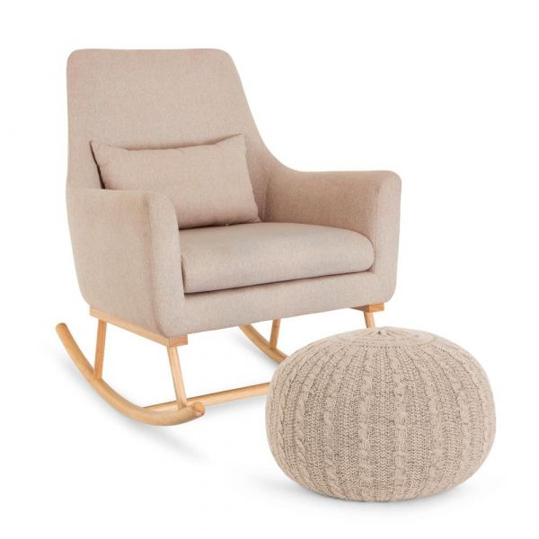 Oscar Rocking Chair & Pouffe Set - Stone