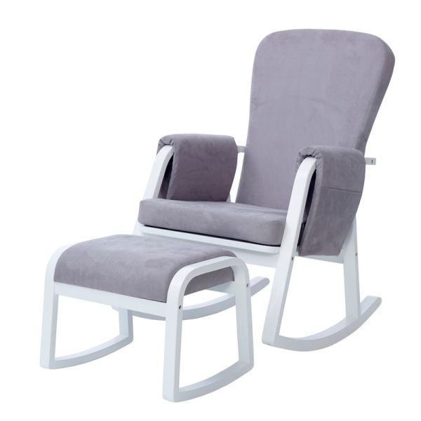 Dursley Rocker Chair & Stool - Pearl Grey