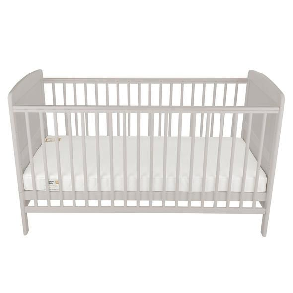 Juliet Cot Bed and Mother and Baby First Gold Foam Mattress (Dove Grey)