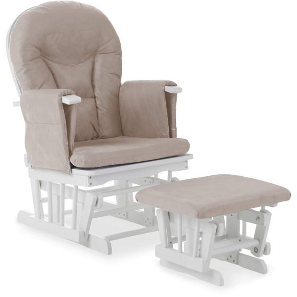 Reclining Glider Chair and Stool - White with Sand Cushions