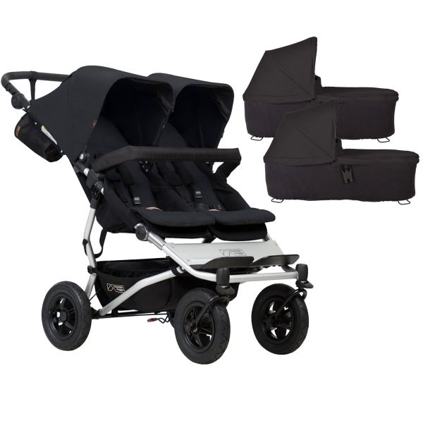 Mountain Buggy Duet V3 Twin Pushchair & 2 Carrycots (Black)