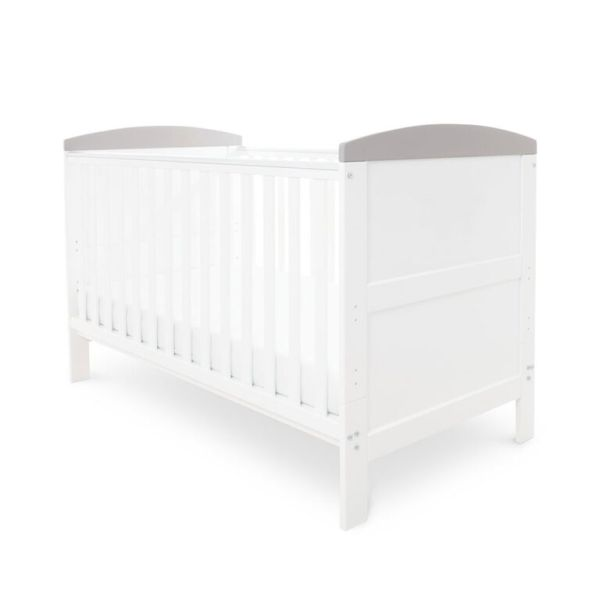 Coleby Classic Cot Bed & Foam Mattress (White With Grey Trim)