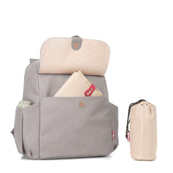 Baby changing Convertible Backpack ROBYN Vegan leather (Pale grey)