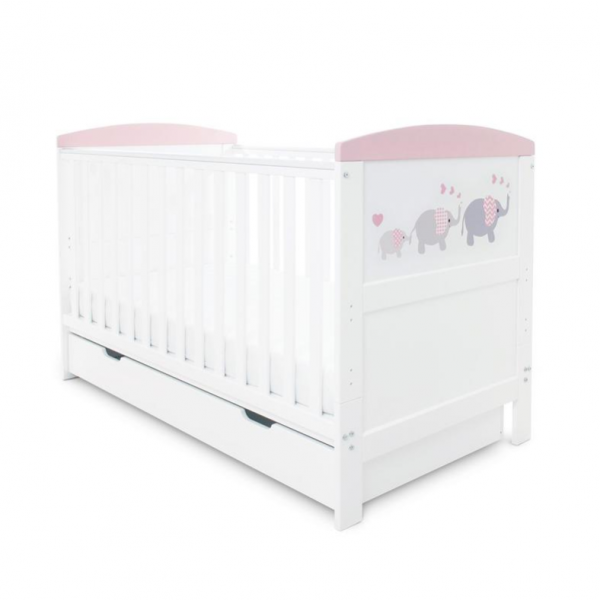 Coleby Style Cot Bed & Under Drawer Inc Sprung Mattress (Elephant Love Pink)