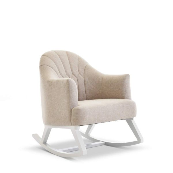Round Back Rocking Chair - White with Oatmeal Cushions