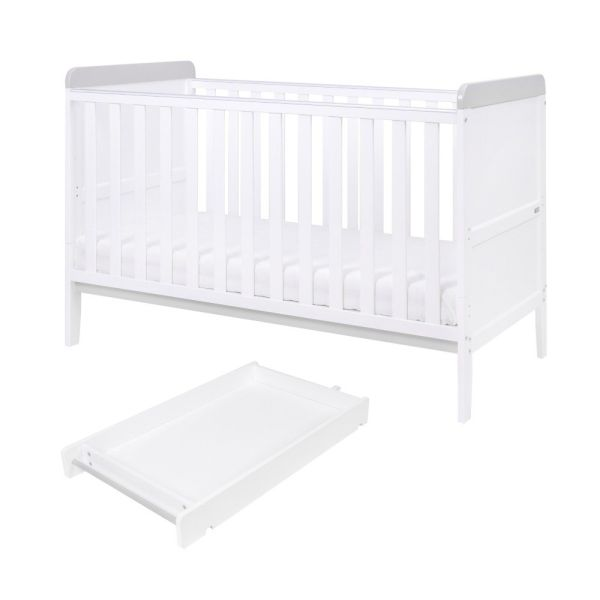 Rio Cot Bed (inc Changer and Mattress) (White/Dove Grey)