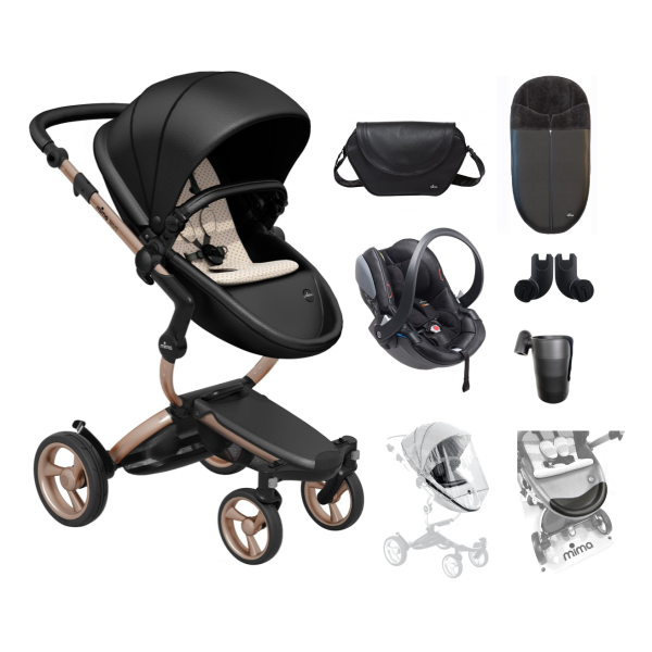 Xari 4G Pushchair Complete Travel System - Black on Rose Gold
