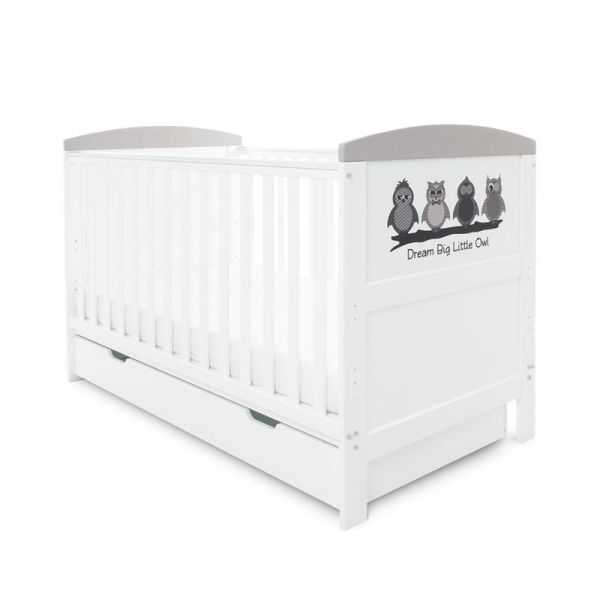 Coleby Style Cot Bed & Under Drawer Inc Pocket Sprung Mattress (Dream Big Little Owl)