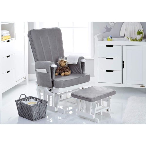 Deluxe Reclining Glider Chair & Stool - White with Grey Cushions