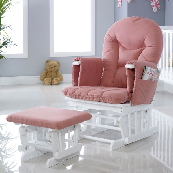 Alford Glider Chair and Stool - White/Blush Pink