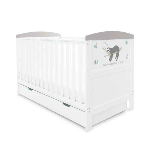 Coleby Style Cot Bed & Under Drawer Inc Pocket Sprung Mattress (Sloth Grey)