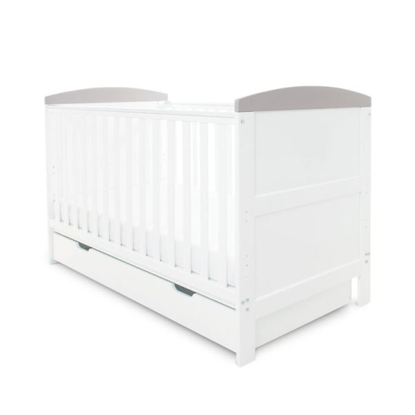 Coleby Classic Cot Bed & Under Drawer (White With Grey Trim)