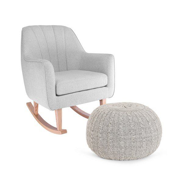 Noah Rocking Chair & Pouffe Set - Pebble
