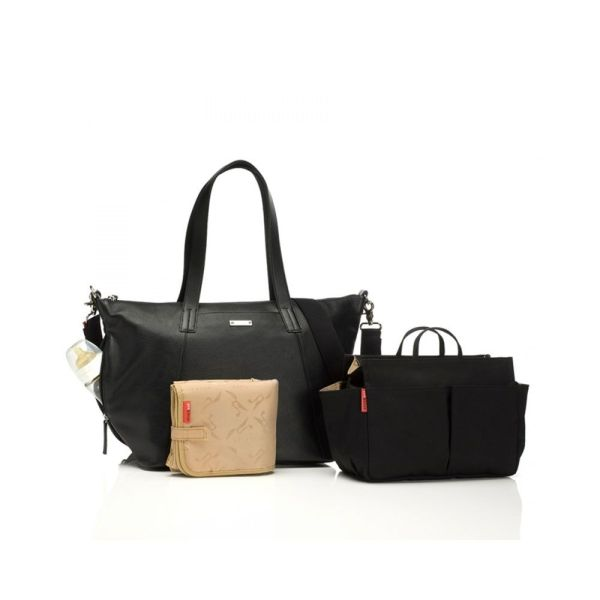 BABY changing bag noa leather (black)