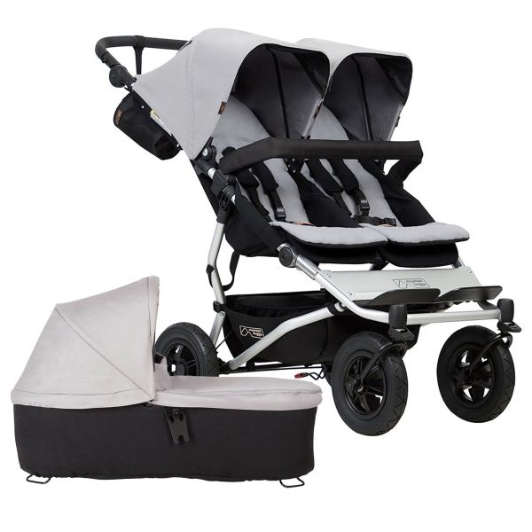Mountain Buggy Duet V3 Twin Pushchair & Carrycot (Silver)