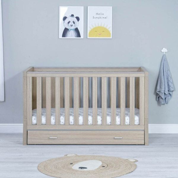 Luno Cot Bed + Drawer -(Oak)