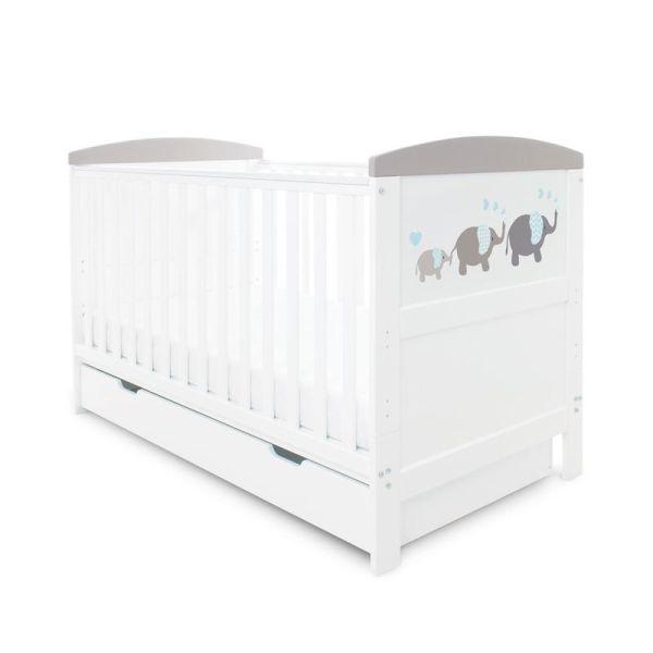 Coleby Style Cot Bed & Under Drawer Inc Pocket Sprung Mattress (Elephant Love Grey)