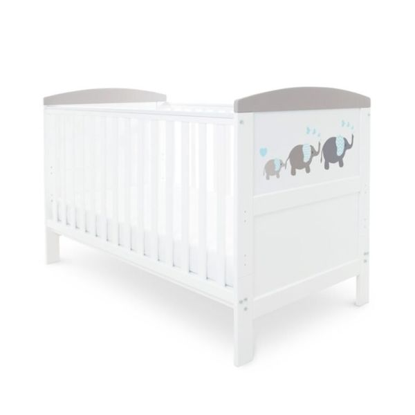 Coleby Style Cot Bed & Sprung Mattress (Elephant Love Grey)