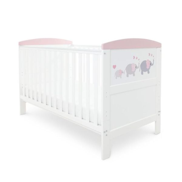 Coleby Style Cot Bed & Pocket Sprung Mattress (Elephant Love Pink)