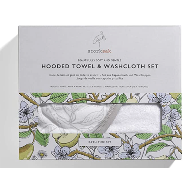 Hooded Towel And Wash Cloth- Garden Print