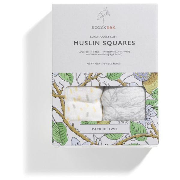 GARDEN & RAINDOT MUSLIN SQUARES - (PACK OF 2)