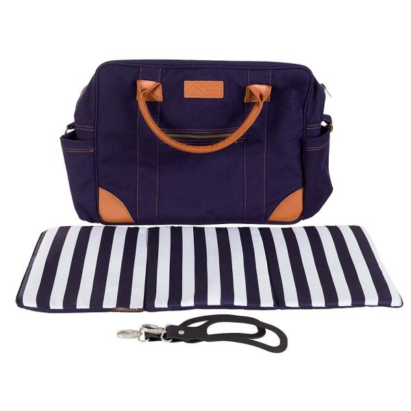 Luxury Satchel with Clips and Change Mat (Nautical)