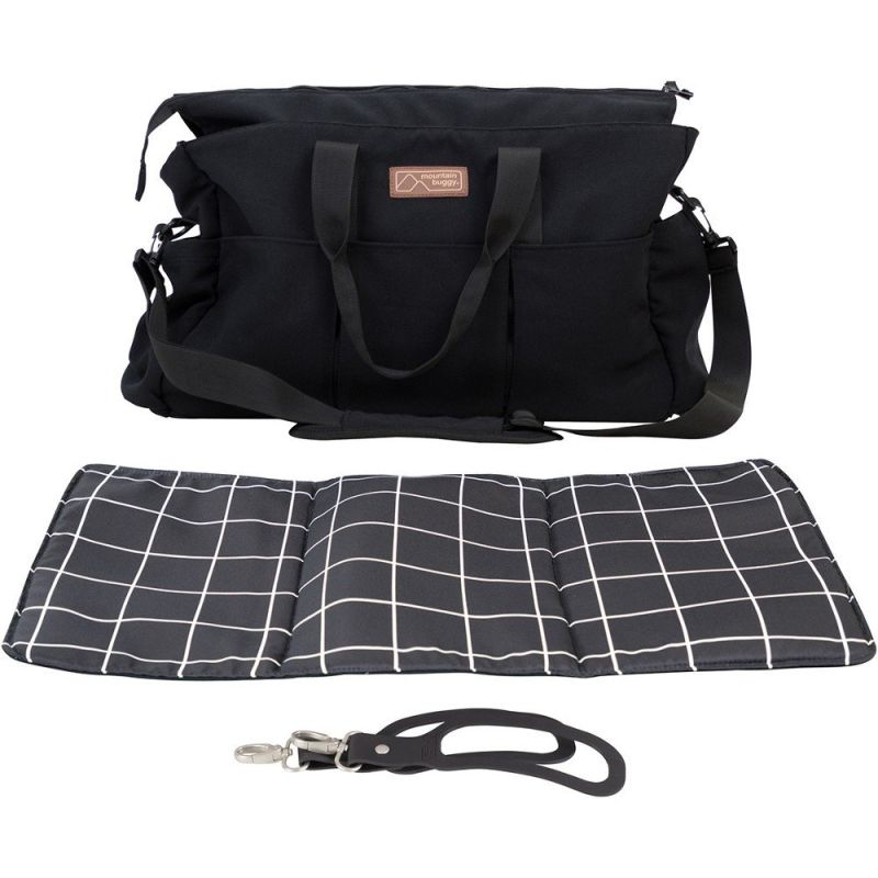 Double Luxury Satchel with Clips and Changing Mat (Grid)