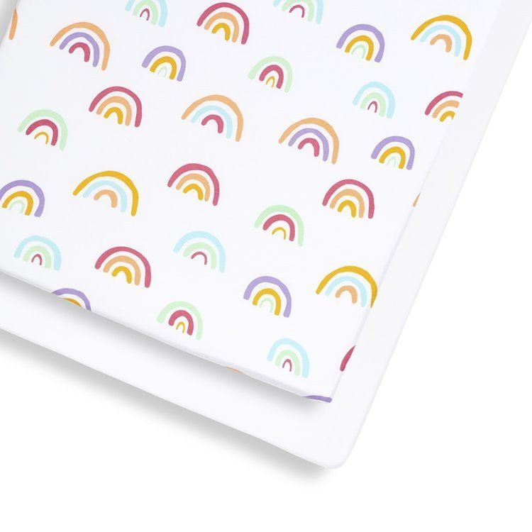 2 Pack Cot & Cot Bed Fitted Sheet – Rainbow