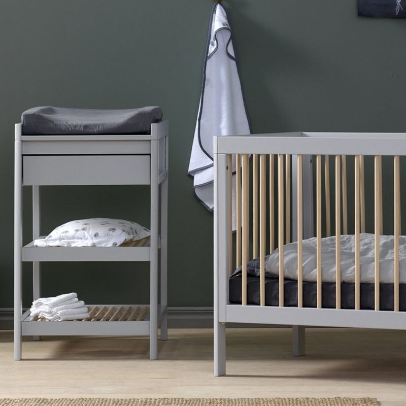 Lukas 2 Piece Set - Cot bed and Changing Table with Drawer - Soft Grey/Natural