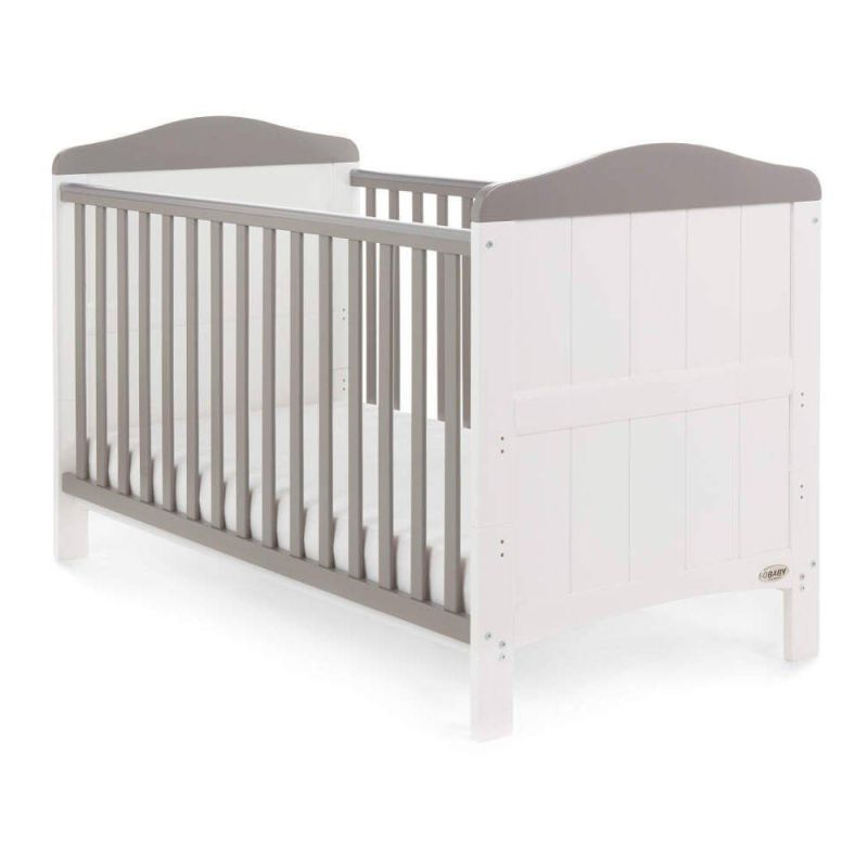 Whitby Cot Bed - White With Taupe Grey